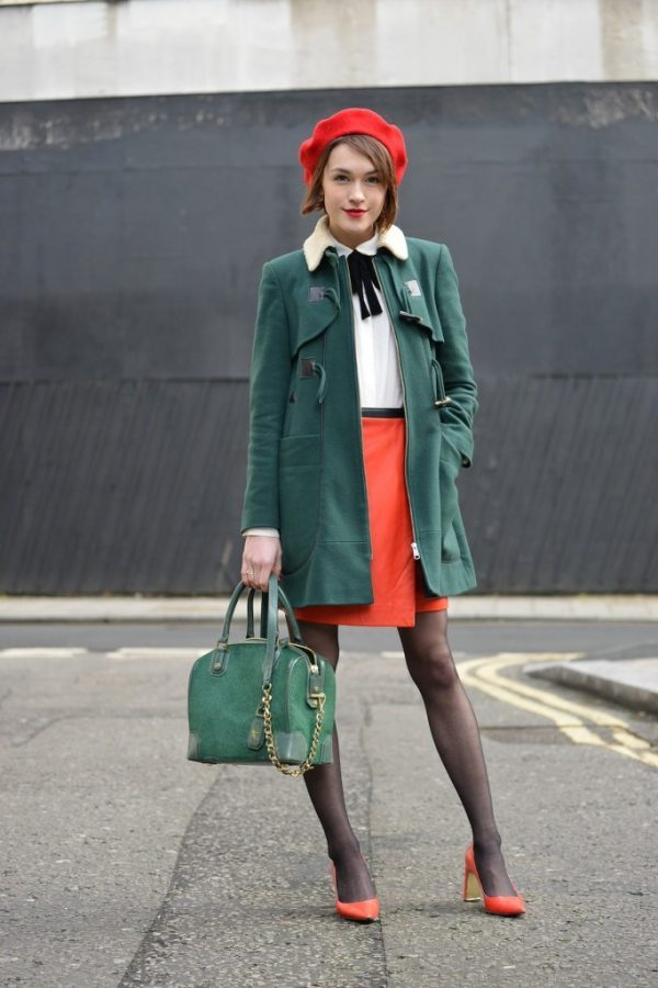 orange heels with green coat cute preppy fall look bmodish