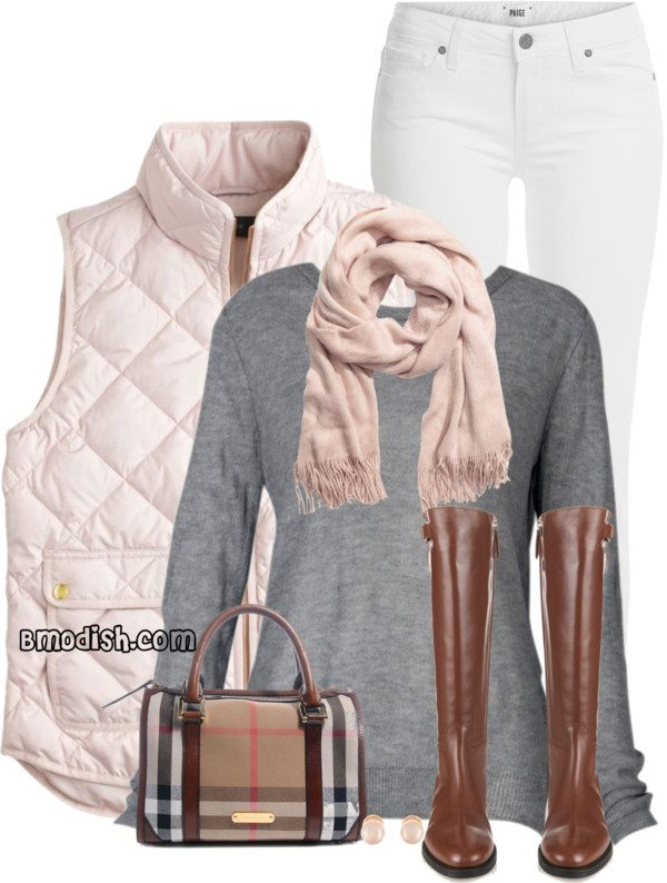 pink quilted vest casual fall outfit bmodish