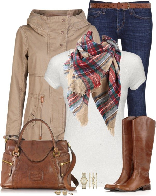 plaid scarf casual fall winter polyvore outfit bmodish