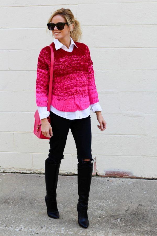 preppy in pink fall outfit bmodish