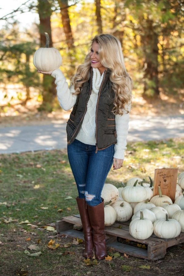 quilted vest turtleneck cozy sweater and brown boots fall outfit bmodish