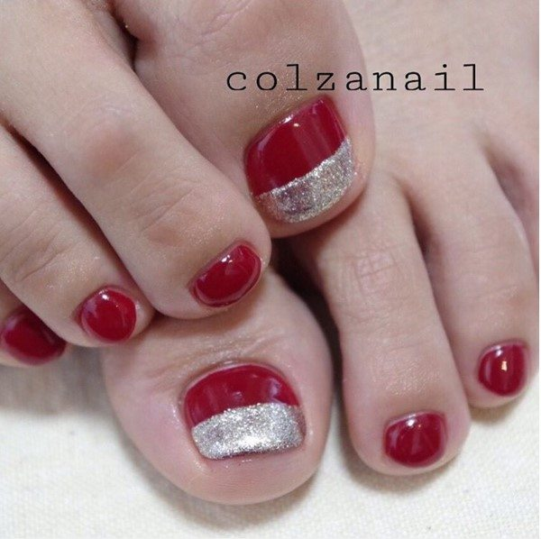 red and silver christmas toe nail design bmodish