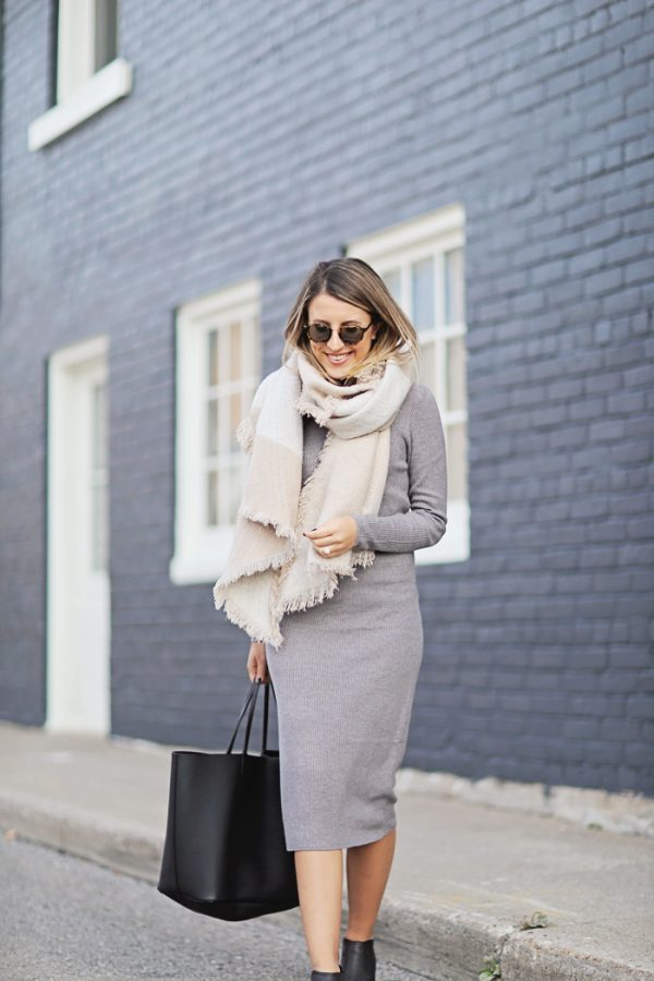soft blanket scarf with knit midi dress bmodish