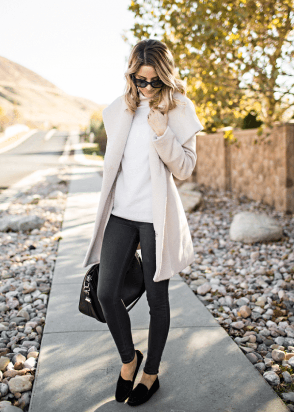 soft pink long coat casual fall outfit bmodish