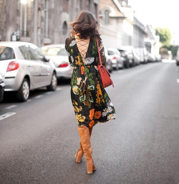 suede brown boots with floral dress street style bmodish