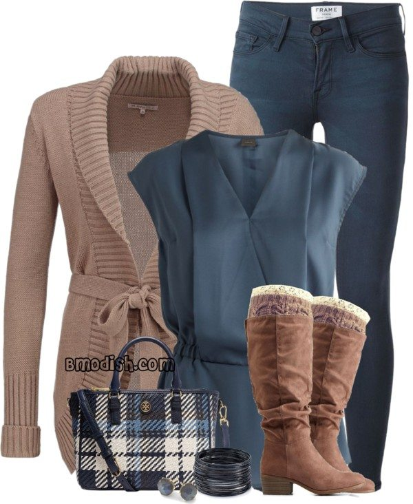 taupe wrap cardigan with blouse fall outfit bmodish
