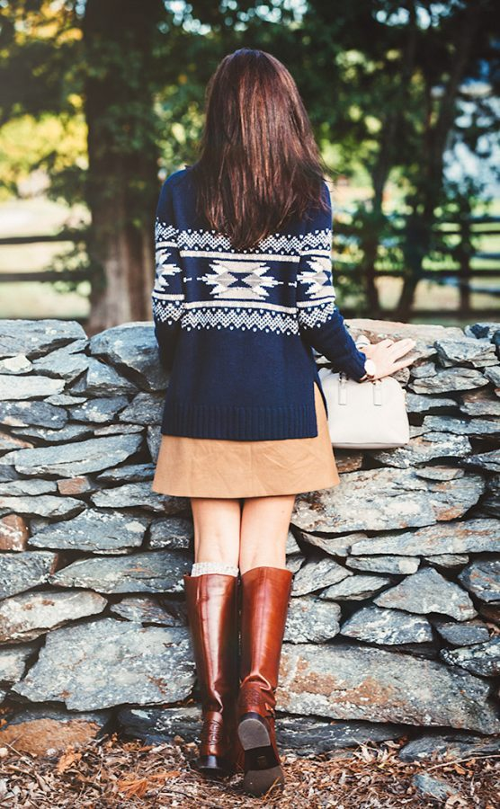 tory burch riding boot fall outfit look bmodish