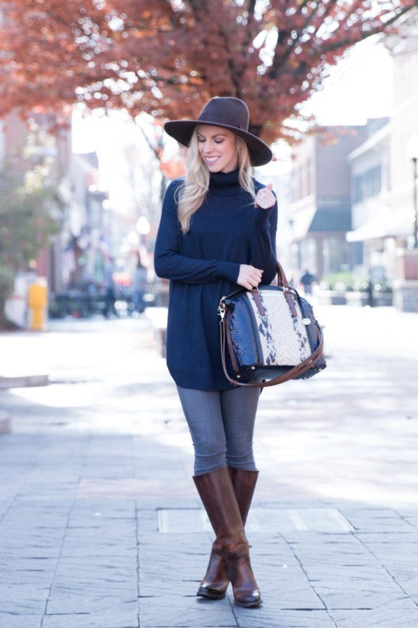 turtleneck tunic with brown boots fall fashion bmodish
