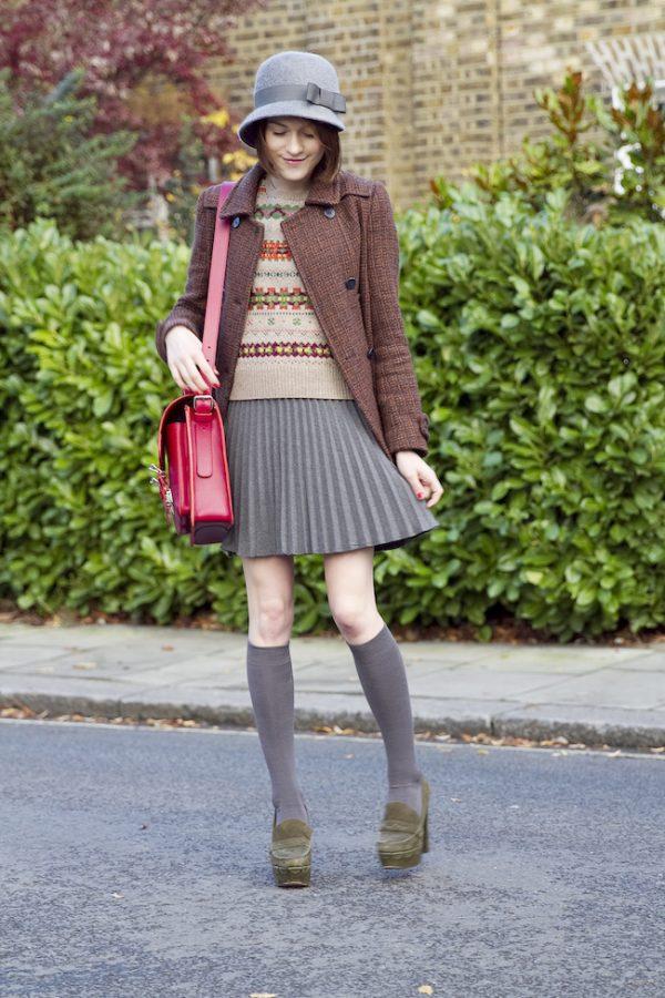 tweed blazer vintage sweater preppy fall look bmodish