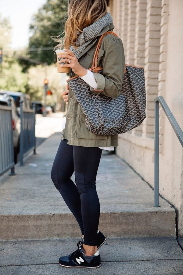 utility jacket and leggings and knit scarf cozy outfit bmodish