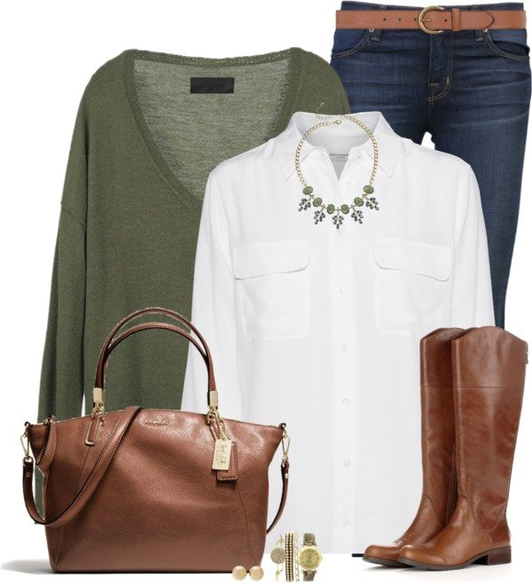 v neck sweater with colared blouse casual fall outfit bmodish