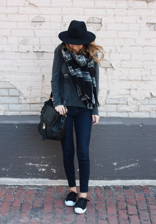 warm black sweater with plaid cozy scarf casual fall outfit bmodish