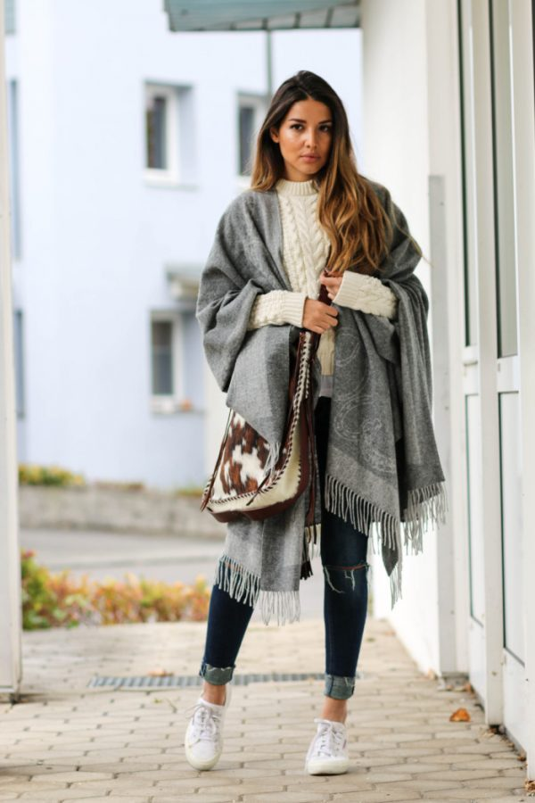warm long scarf cozy sweater fall outfit bmodish