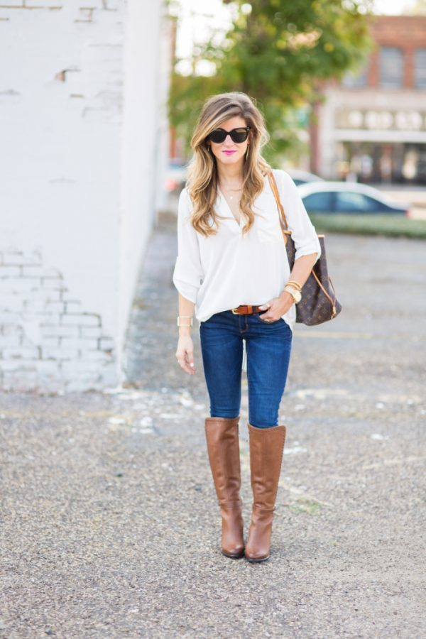 white tunic with brown boots bmodish