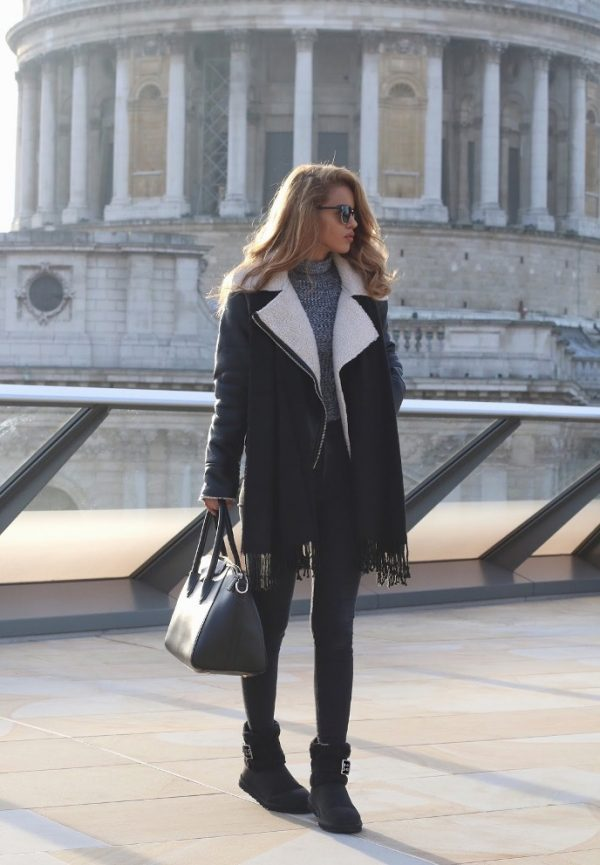 black classic ugg boots with shearling jacket fall outfit bmodish