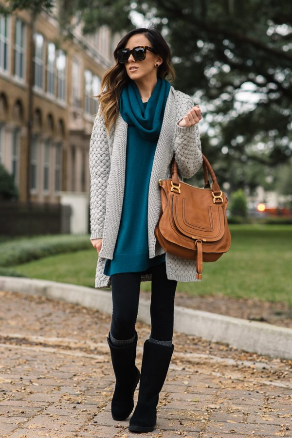black ugg boots, long cardigan and long sweater bmodish
