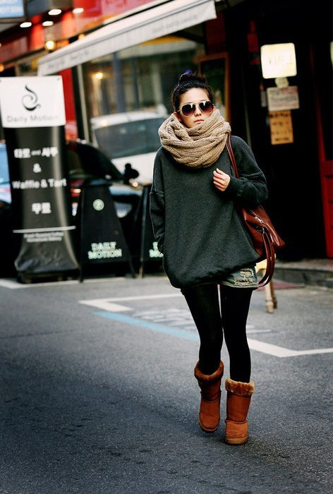 brown ugg boots, legging and jeans shorts outfit bmodish