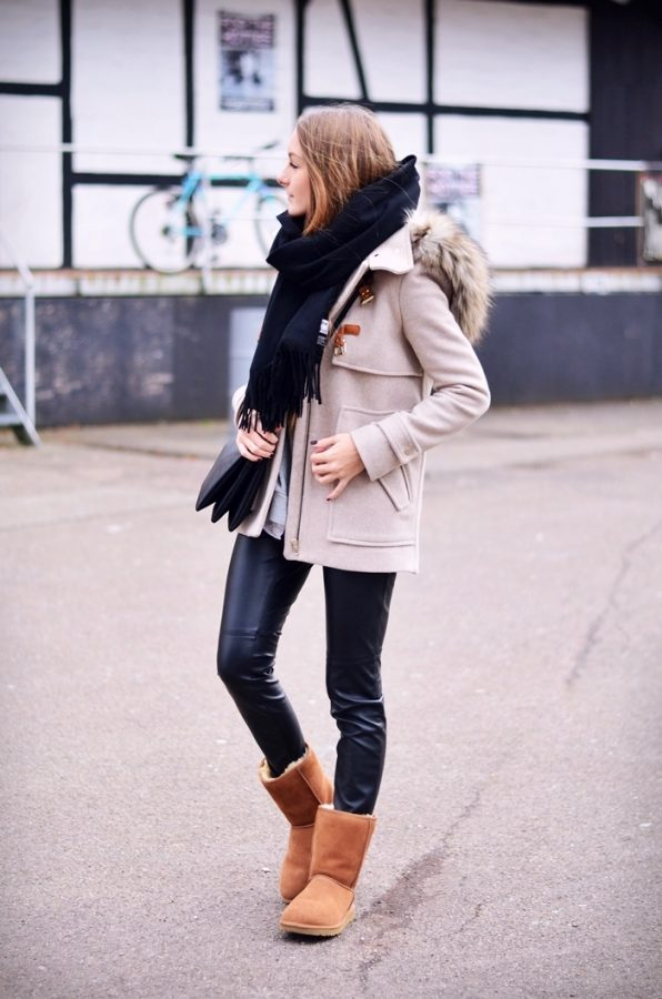camel ugg boots with duffle coat fall winter outfit bmodish