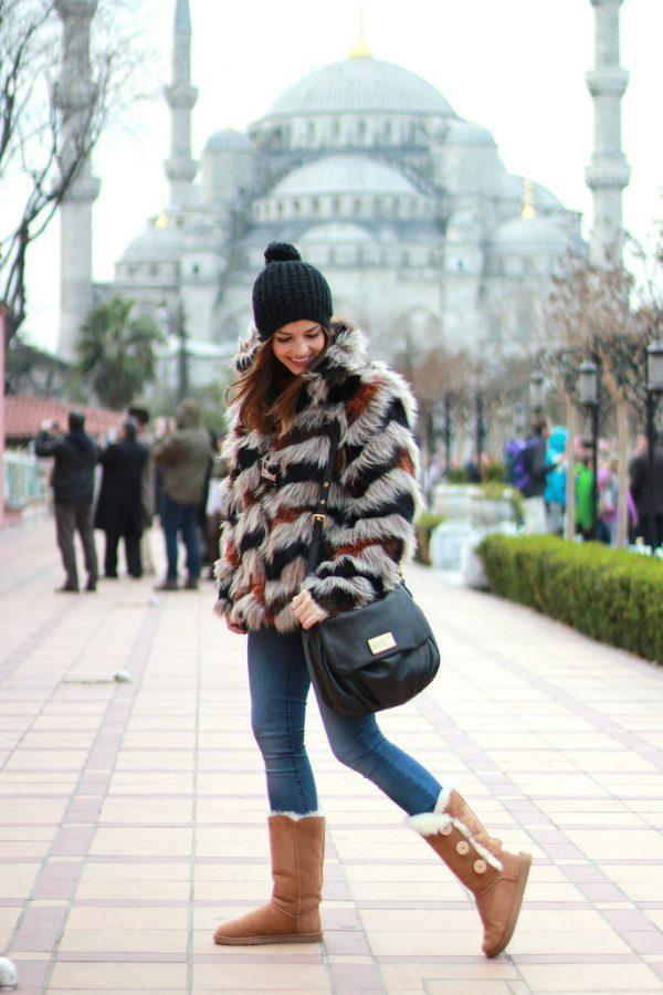 fur jacket with ugg boots bmodish