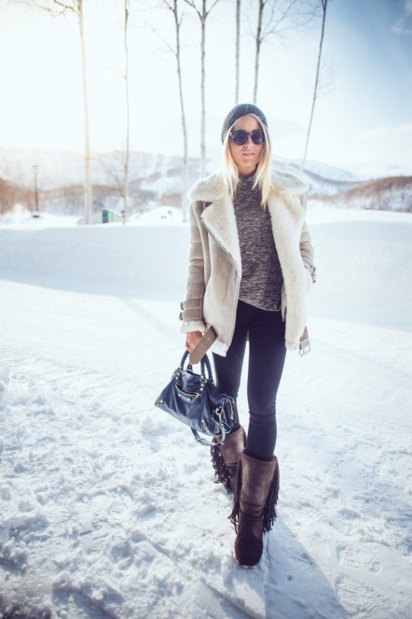 janni deler winter outfit with fringe ugg boots bmodish