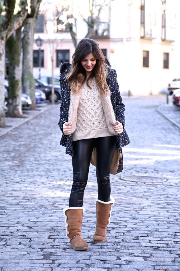 leather legging with ugg boots outfit