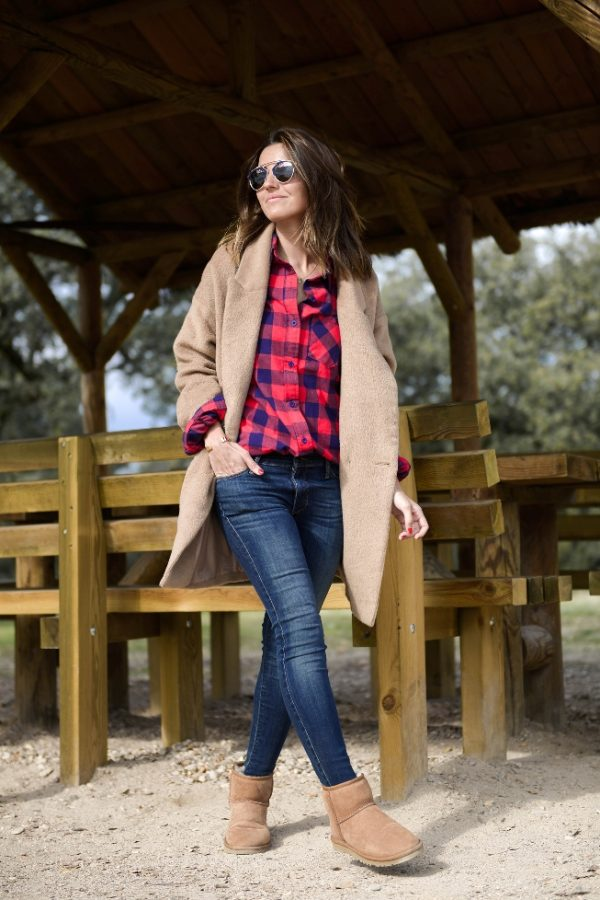 long camel coat plaid shirt and ugg boots bmodish