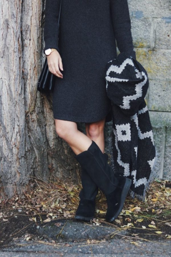 sweater dress with black ugg boots bmodish