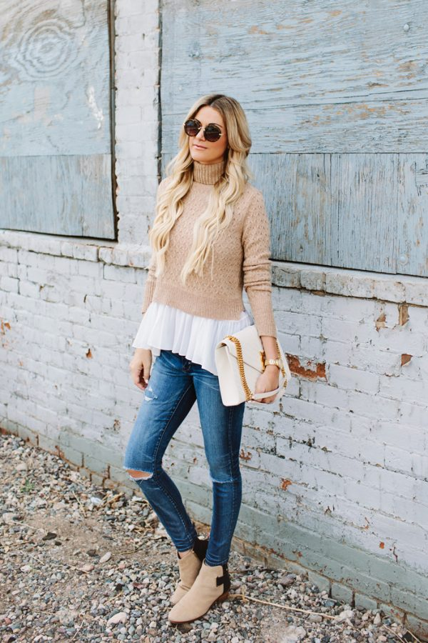 ALC-Tan-Turtleneck-cropped Sweater fall fashion bmodish