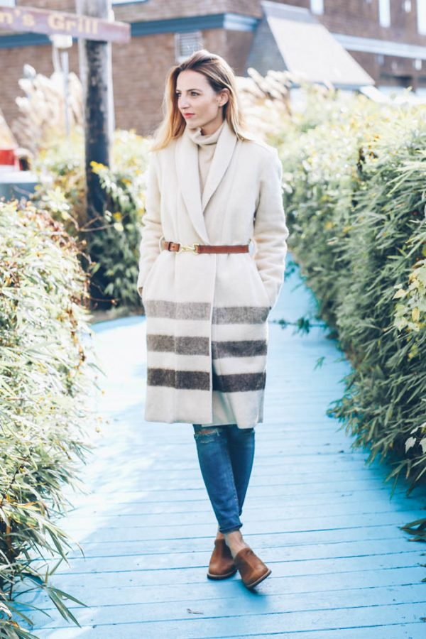 Woolrich-blanket-coat-clogs-fall outfit bmodish