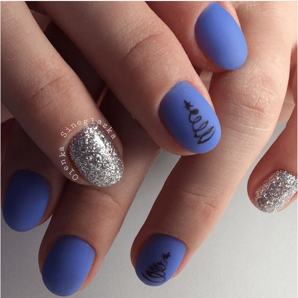 blue and silver christmas nail design bmodish