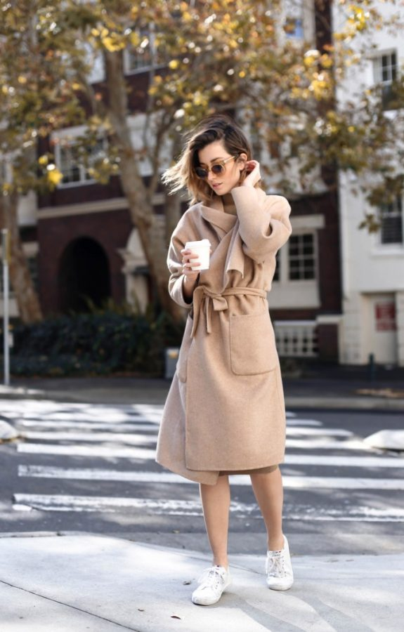 camel-tan-wrap-coat-sneakers-fall outfit bmodish