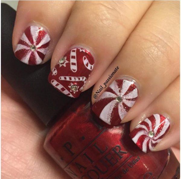 candycanes christmas short manicure bmodish