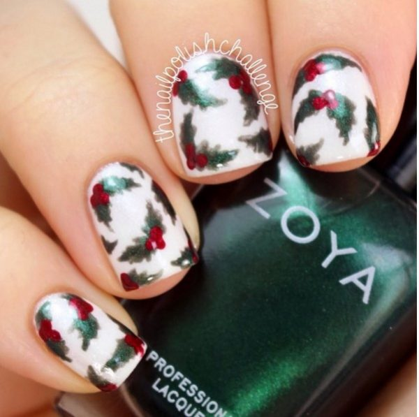 christmas holly manicure bmodish