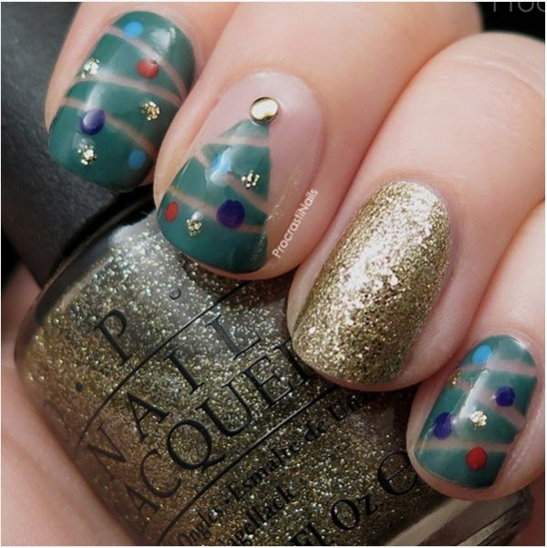 christmas tree and gold glitter short nails bmodish