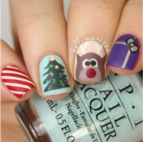 cute christmas time short nail art bmodish