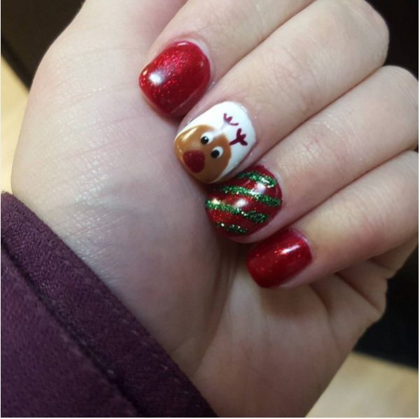 cute red reinders christmas short nails bmodish