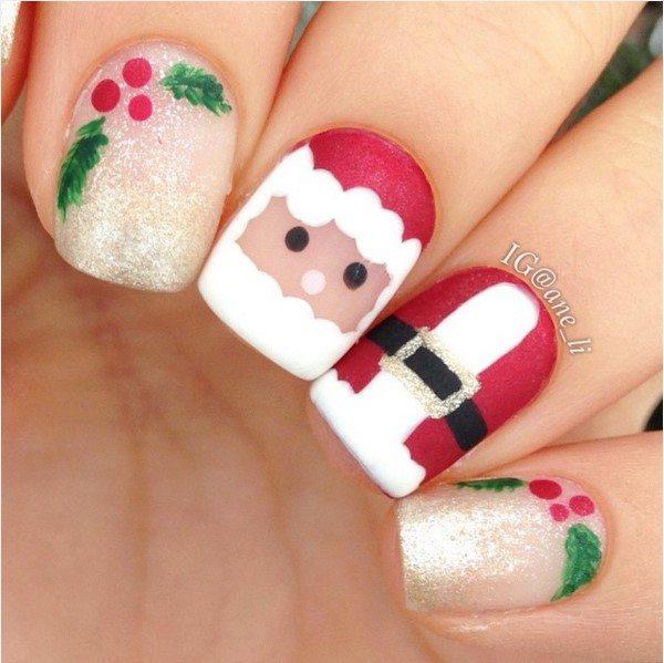 cute santa christmas short nail art bmodish