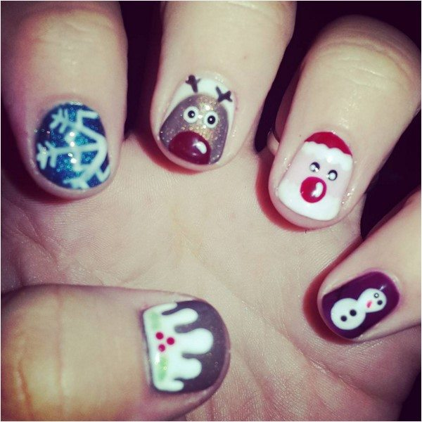 cute snowman, reinders and santa short nails bmodish