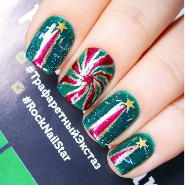 glitter green and stars christmas nail art for short nail bmodish