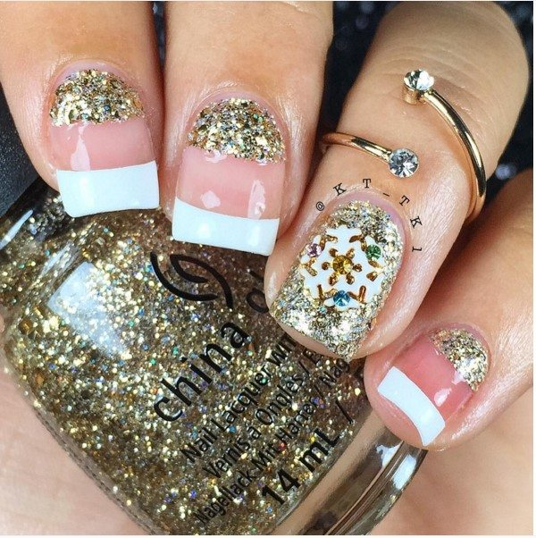 gold christmas short nails bmodish