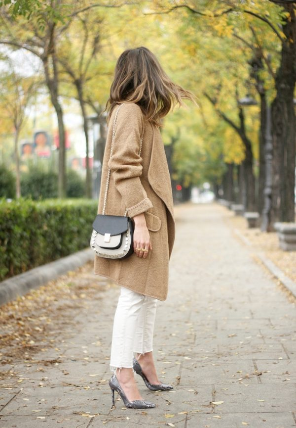 long camel coat fall outfit idea bmodish