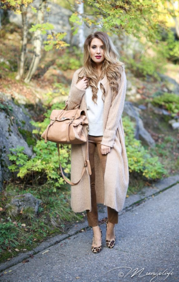 long cozy cardigan and leopard flats fall neutral outfit bmodish