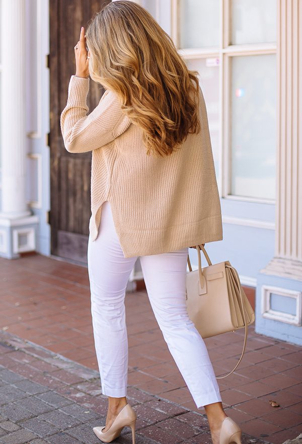 neutral knit sweater for fall outfit bmodish