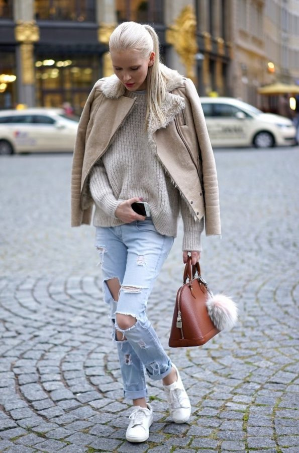 neutral knit sweater with shearling jacket casual fall outfit bmodish