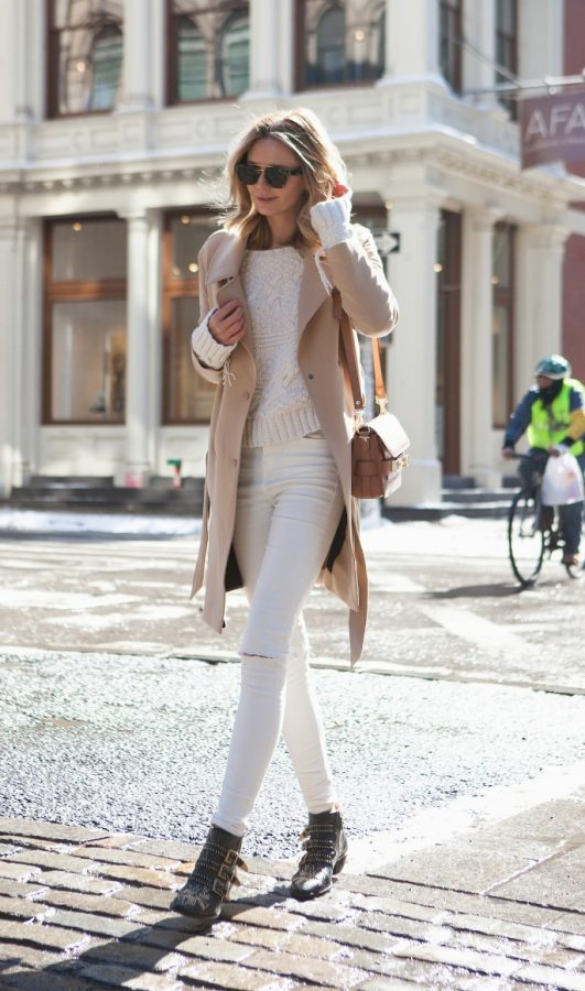 neutral trench white sweater fall outfit bmodish