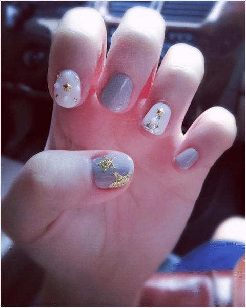 pastel blue gold star xmas nail design for short nail bmodish