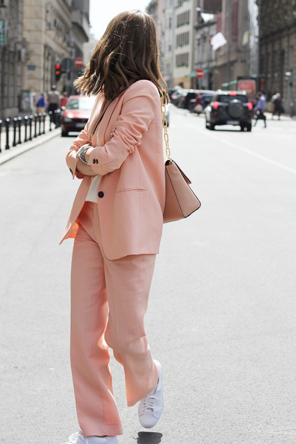 how to wear pastel pink stylish suit with sneakers bmodish