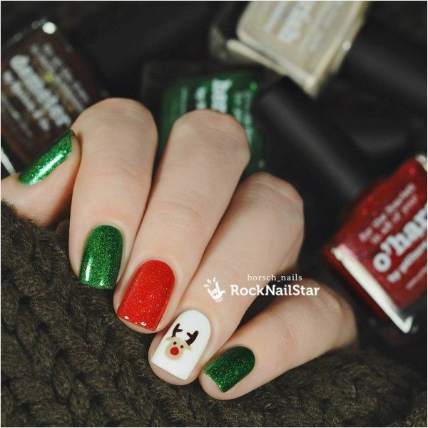 red green and white christmas nail design bmodish