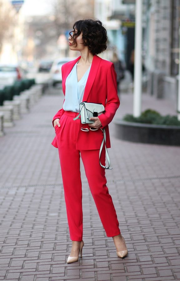 red suit spring mood bmodish