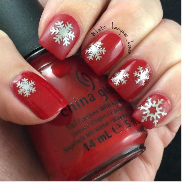 silver snowflakes red short nails bmodish